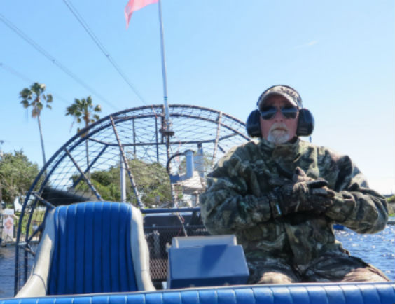 Captain Bob on his airboat (Image: Sharon McAuley)