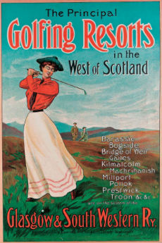 Golf in Scotland vintage poster
